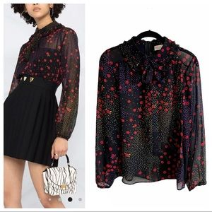 RED Valentino floral dotted silk collared blouse